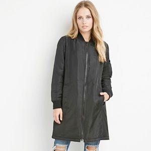 Forever 21 Longline bomber jacket trench coat